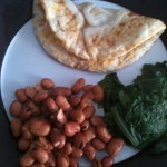 Egg, bean and spinach breakfast