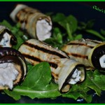 grilled aubergine filled with feta
